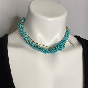 Turquoise Gold color seed bead necklace